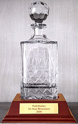 COUNTY SPIRIT DECANTER ON WOODEN BASE