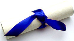 scroll with ribbon family crest